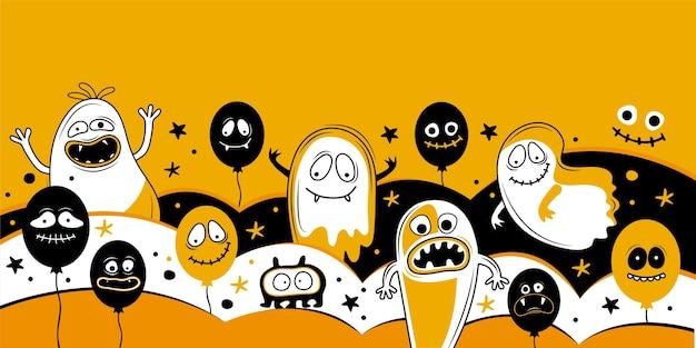 Modelo de banner horizontal para feliz dia das bruxas. balões com rostos assustadores, mandíbulas, dentes e bocas abertas. lugar para texto. ilustração vetorial festiva