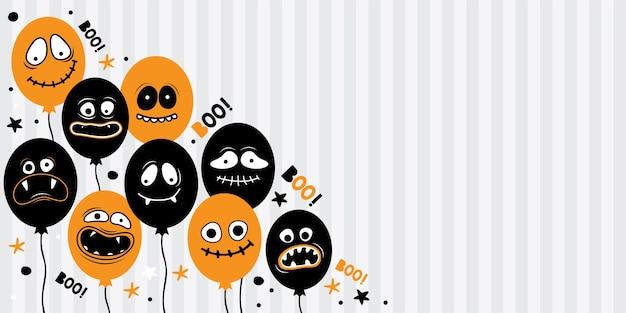 Modelo de banner horizontal para feliz dia das bruxas. balões com rostos assustadores, mandíbulas, dentes e bocas abertas. personagem de desenho animado fantasma, monstro, jack skellington. lugar para texto. desenhado à mão