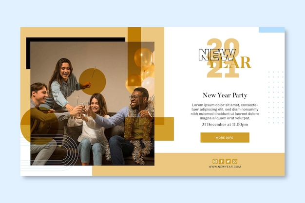 Modelo de banner horizontal para festa de ano novo com amigos