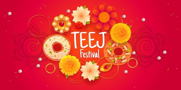 Modelo de banner horizontal para festival de teej plana