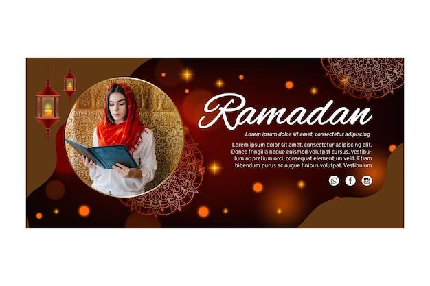 Modelo de banner horizontal para o ramadã