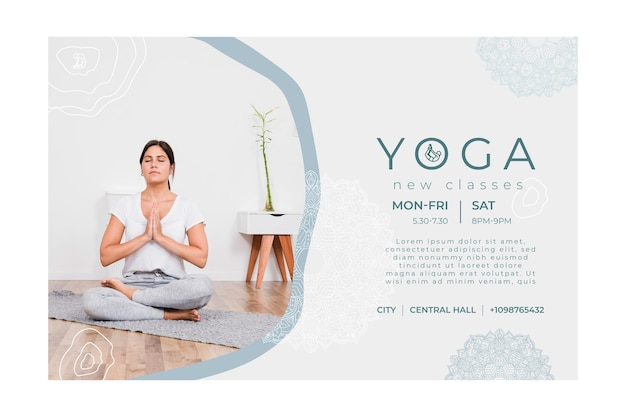Modelo de banner horizontal para prática de ioga