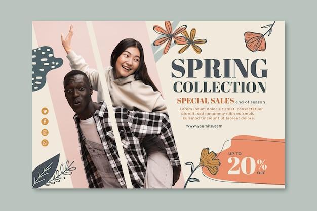 Modelo de banner horizontal para venda de moda primavera
