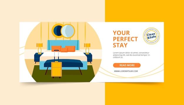 Modelo de banner ilustrado de hotel