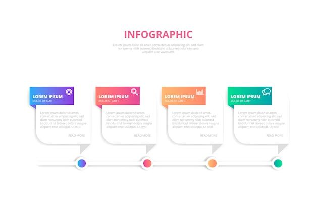 Modelo de banner infográfico gradiente