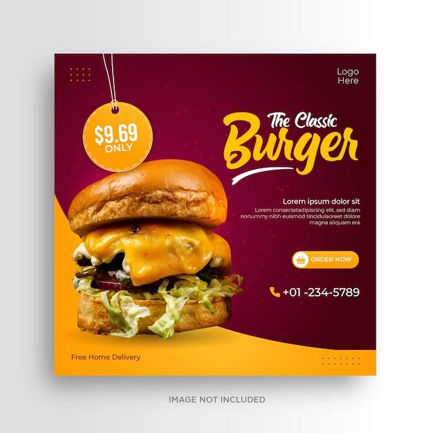 Modelo de banner instagram de promoção de menu de hambúrguer