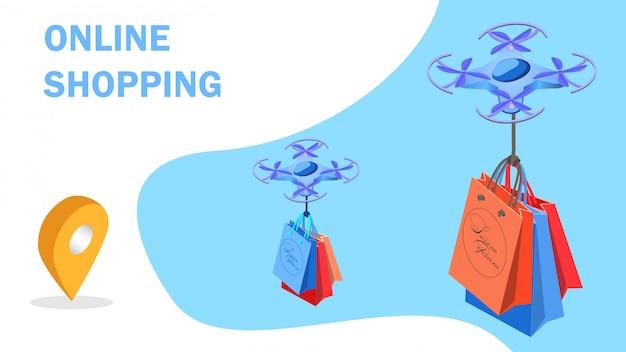 Modelo de banner isométrica de compras futurista