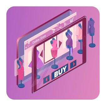 Modelo de banner isométrica de loja de roupas on-line