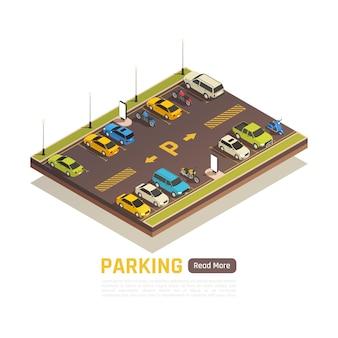 Modelo de banner isométrico de área de estacionamento