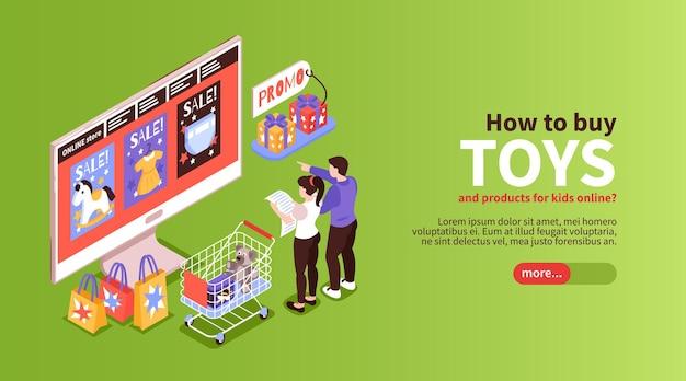 Modelo de banner isométrico de compra de brinquedos online