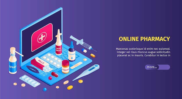 Modelo de banner isométrico de farmácia online