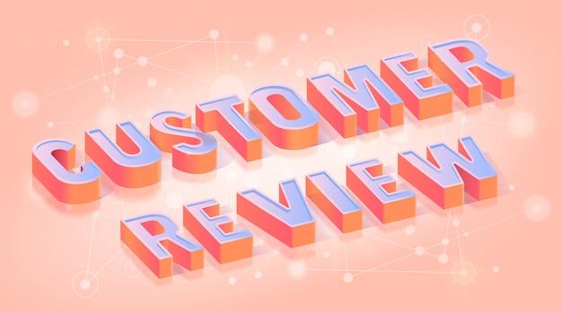 Modelo de banner isométrico de revisão do cliente