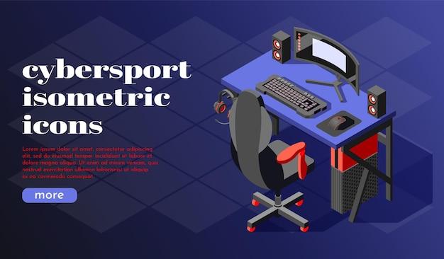 Modelo de banner isométrico do cybersport