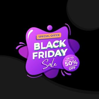 Modelo de banner líquido preto de venda sexta-feira