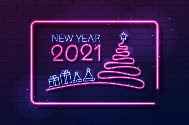 Modelo de banner luminoso de feliz ano novo com texto e decorações em néon