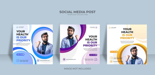 Modelo de banner médico de mídia social