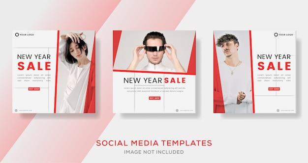 Modelo de banner minimalista para promoção de ano novo