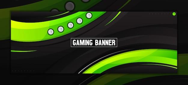 Modelo de banner moderno abstrato verde e preto no facebook