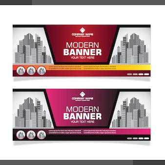 Modelo de banner moderno com formas gradientes
