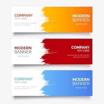 Modelo de banner moderno com splash abstrato