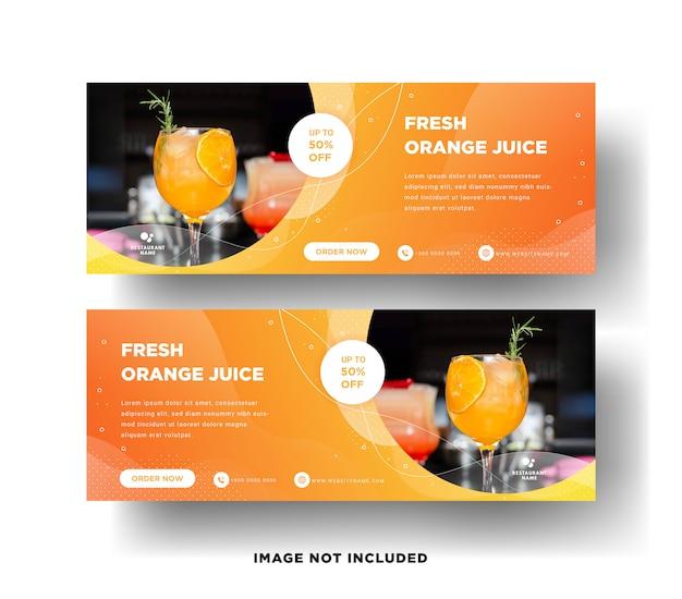 Modelo de banner moderno da web para a venda de bebidas de laranja