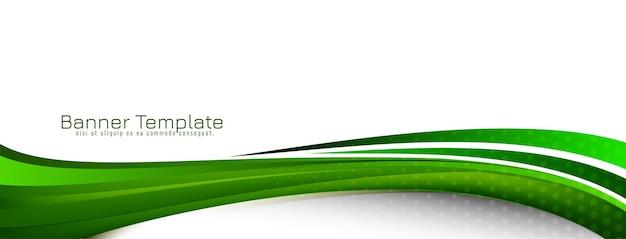 Modelo de banner moderno e elegante de estilo onda verde