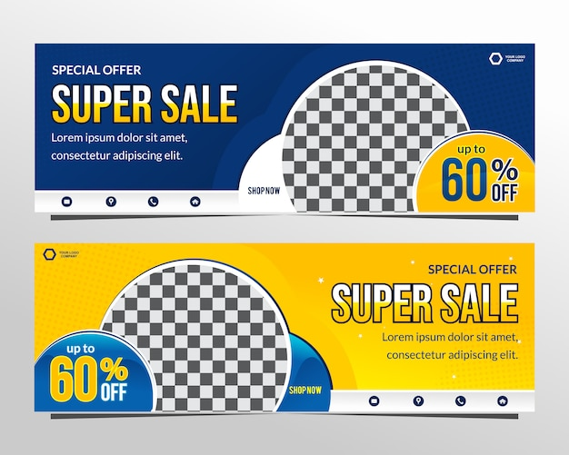 Modelo de banner moderno web super venda azul e amarelo