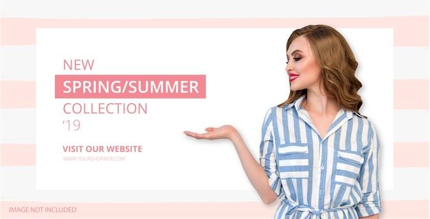 Modelo de banner nova temporada com linhas-de-rosa