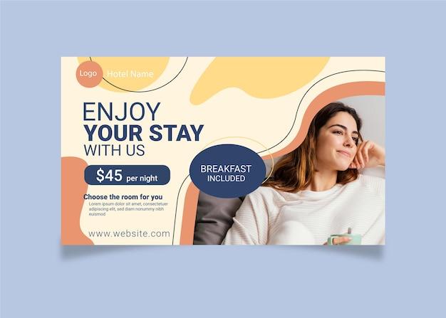 Modelo de banner orgânico de hotel com foto