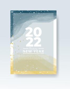 Modelo de banner ou cartão de feliz ano novo de 2022 com respingos de aquarela