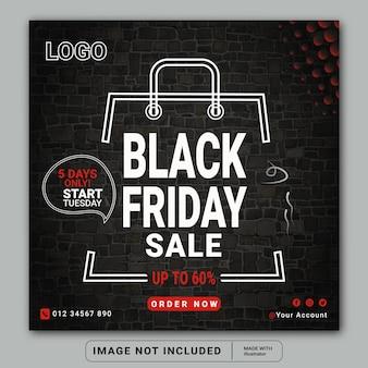 Modelo de banner ou flyer quadrado de venda de moda da black friday nas mídias sociais do instagram