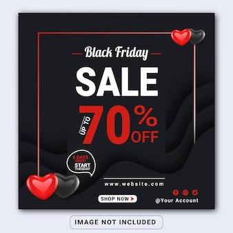 Modelo de banner ou panfleto quadrado de venda da black friday nas mídias sociais do instagram