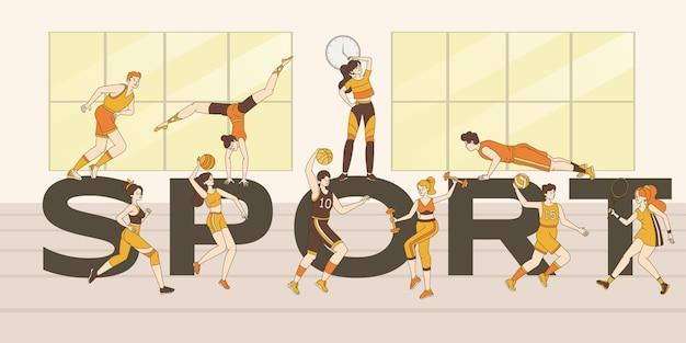 Modelo de banner palavra esporte. pessoas fazendo exercícios de esporte, treino de fitness, jogando jogos de esporte.