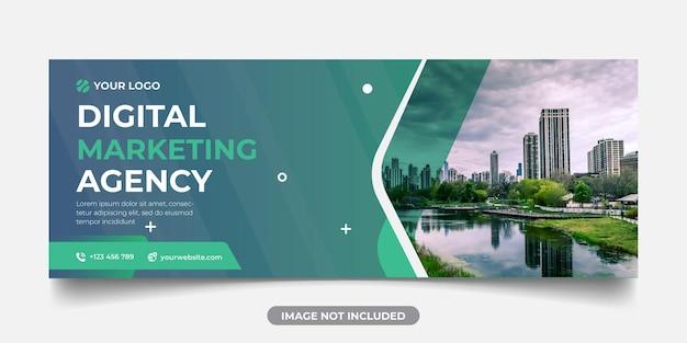 Modelo de banner panorâmico de agência de marketing digital para capa do facebook