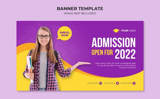 Modelo de banner para admissão escolar