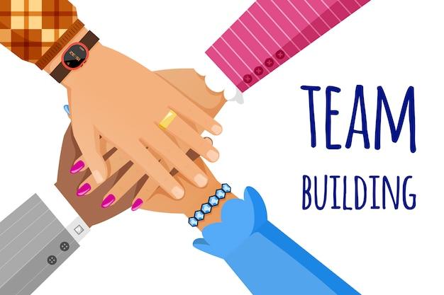 Modelo de banner para construção de equipe. trabalho em equipe, cooperação, conceito plano de unidade.
