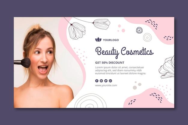 Modelo de banner para cosméticos faciais de beleza
