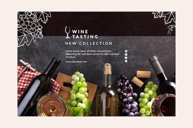Modelo de banner para degustação de vinhos