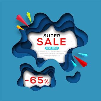 Modelo de banner para ofertas especiais, vendas, negócios e descontos em estilo de arte em papel origami.