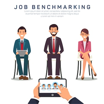 Modelo de banner plana de benchmarking app de trabalho