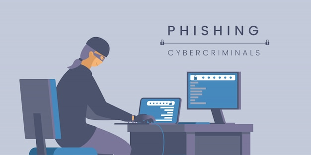 Modelo de banner plana de cibercriminosos de phishing.