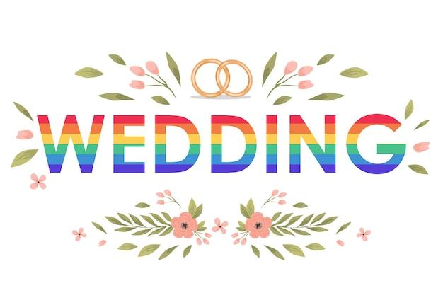 Modelo de banner plano de vetor de palavra de casamento arco-íris decorado com casamento