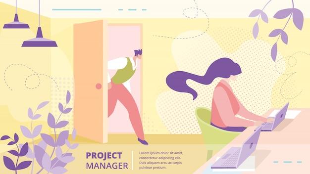 Modelo de banner plano - empresa projeto gerente