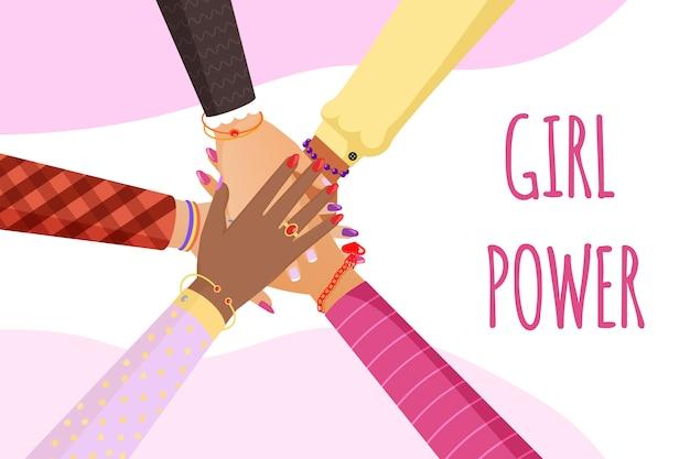Modelo de banner poder menina. feminismo, direitos das mulheres, unidade, conceito de solidariedade.