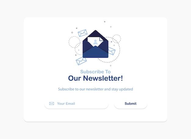Modelo de banner pop-up de assinatura de boletim informativo em design plano