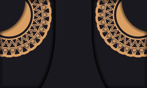 Modelo de banner preto com enfeites e lugar para o seu logotipo e texto. modelo de plano de fundo de design para impressão com padrões abstratos.
