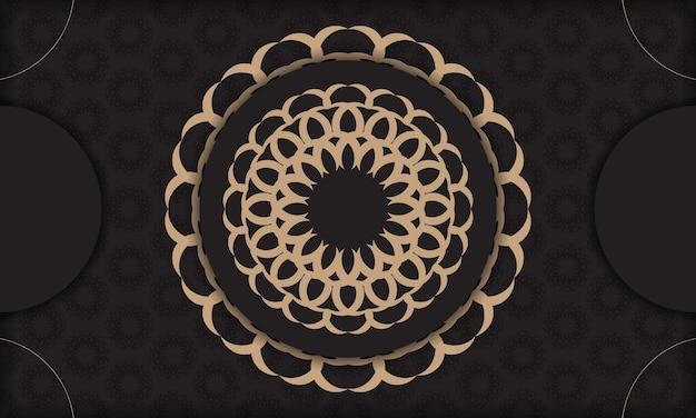 Modelo de banner preto com ornamentos de luxo e lugar para o seu logotipo. design de cartão postal com padrões vintage.