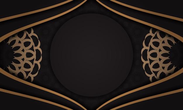 Modelo de banner preto com ornamentos de luxo e lugar para o seu texto. design de cartão postal pronto para impressão com ornamentos vintage.