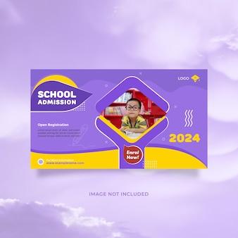 Modelo de banner promocional de admissão de educação escolar de ideia criativa com cor azul amarelo