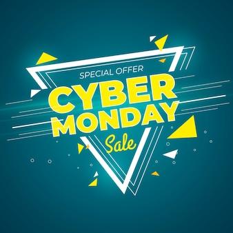 Modelo de banner promocional de cyber segunda-feira de design plano